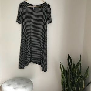 Alya Grey Striped T-Shirt Dress Size XS